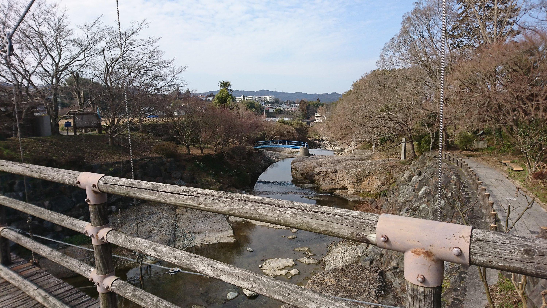 橋の上から辺りを見渡すと木々が立ち並ぶ。花見や紅葉狩りのスポットであることがわかる。