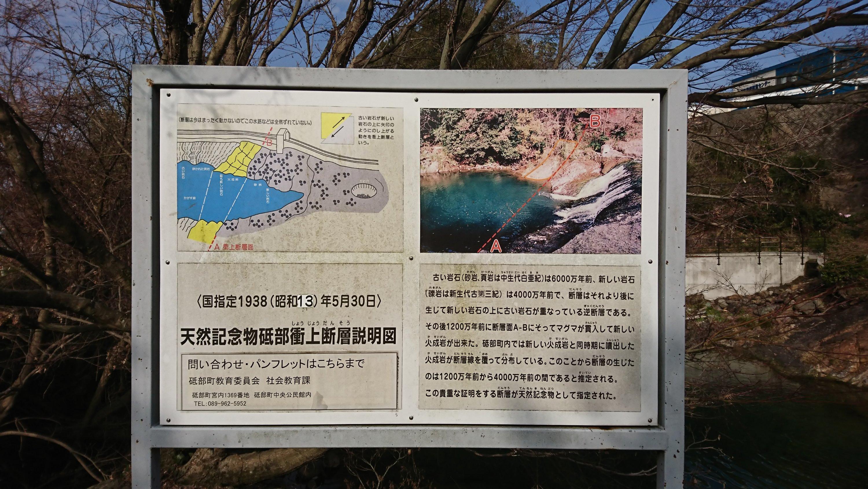 天然記念物「砥部衝上断層」の説明図。