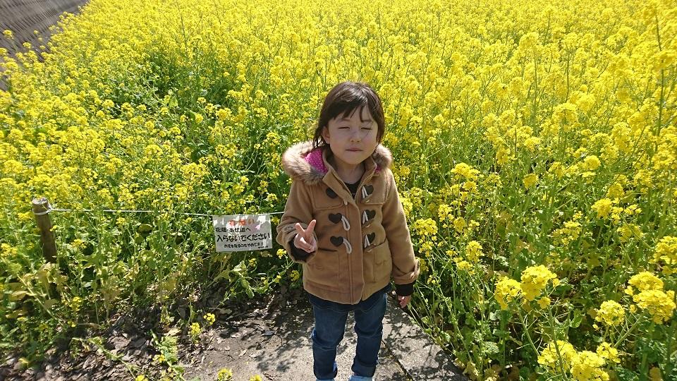 菜の花をバックに笑顔の娘。