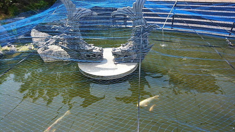 池に浮かぶ巨大なしゃちほこ。瓦の町らしい。