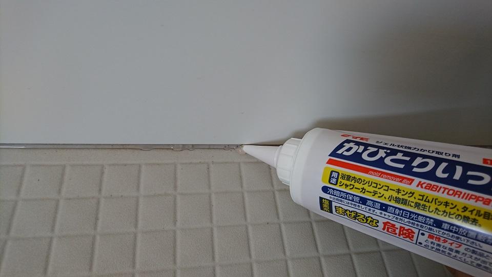 コーキングを打つ用量でかびとりいっぱつを塗布する。